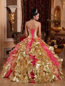 gold and hot pink for strapless organza embroidery