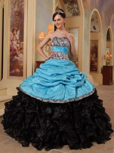 Blue and Black Sweetheart Ruffles Quinceanera Dress in and Organza