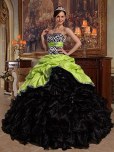 Yellow Green and Black Pick-ups and Organza Quinceanera Dresses