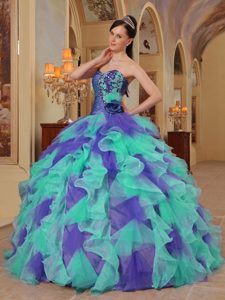 Colorful Sweetheart Ruffles Sweet Sixteen Quince Dresses Made in Organza