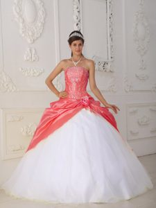 Orange Red and White Organza and Appliques and Flower Quince Dress