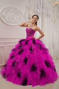 Hot Pink and Black Sweetheart Organza Beading and Ruche Quince Dresses
