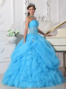 Strapless Organza Beading Quinceanera Dresses with Ruffles in Aqua Blue