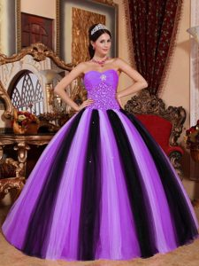 Lavender and Black Sweetheart Beading Quinceanera Gown Dresses