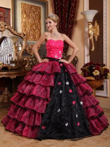 Pink and Black Strapless Organza Quince Dress Embellished Floral Appliques