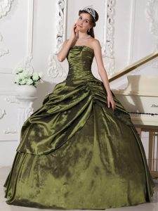 Olive Green Ruched Strapless Beading Quinceanera Dress Gowns in