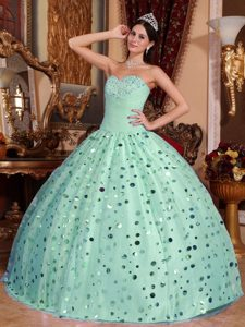 Apple Green Ball Gown Sweetheart Tulle Sequins Sweet Sixteen Quince Dress