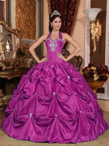 Fuchsia Halter Top Quinceanera Dress Made in with White Appliques
