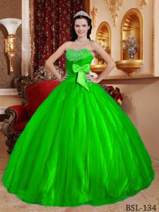 Spring Green Sweetheart Tulle and Beading Quinceanera Dresses