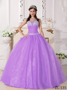 Lilac Strapless Appliques Quinceanera Dress Made in and Organza
