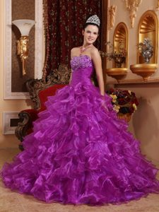 Purple Strapless Beading 2013 Dresses for A Quinceanera Made in Organza