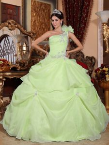 Ruffled One Shoulder Organza Appliques Sweet 15 Dresses in Yellow Green