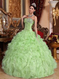 Yellow Green Sweetheart Organza Beading and Ruffles Quinceanera Dresses