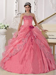 Strapless Organza Embroidery with Beading Quinceanera Dress in Rose Pink