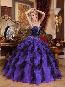 Purple and Black Sweetheart Organza Beading and Ruffles Quince Dresses