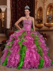 Exclusive Sweetheart Beading Dresses for A Quinceanera Made in Organza
