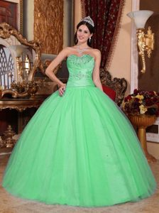Green Sweetheart Beading and Ruche Quinceanera Dress and