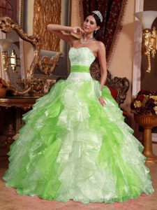 Multi-colored Sweetheart Organza Beading and Ruche Quinceanera Dresses
