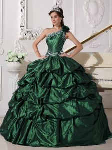 Dark Green One Shoulder Appliques and Pick-ups Quinceanera Dress