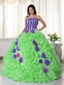 Spring Green Strapless Organza Beading Quinceanera Dress with Flowers