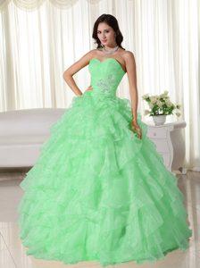 Apple Green Sweetheart Organza Appliques Sweet Sixteen Quince Dresses