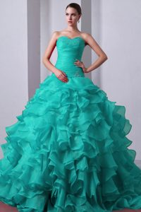 Blue Princess Beading and Ruffles Quinceanea Dress Attached Brush Train