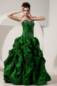 Green Princess Sweetheart Beading Quinceanera Dresses Gowns