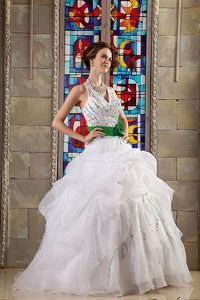White Beaded Halter and Green Sash Dresses for Quinceaneras in Organza