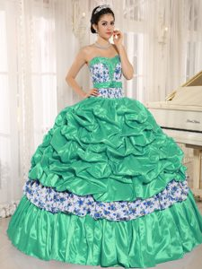 Beaded and Pick-ups for Green Quinceanera Dress in and Printing