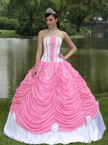 Custom Made Quinceanera Dress with Strapless in Rose Pink and Pick-ups