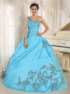 Baby Blue Beading One Shoulder Quinceanera Dress with Floral Appliques