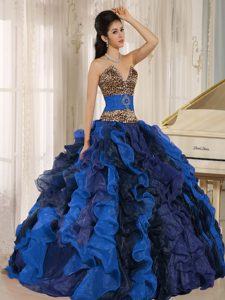 Wholesale V-neck Ruffles Multi-color Quince Dress with Leopard and Beading