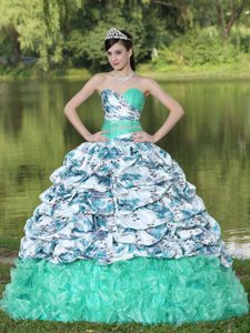 Colorful Printing Beaded Pick-ups and Ruffles Brush Train 2013 Quince Dress