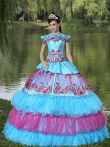off the Shoulder Appliques Quinceanera Dress for 2013 with Tiered Ruffles