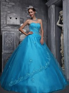 Aqua Blue Sweetheart and Tulle Beading and Appliques Quince Dress