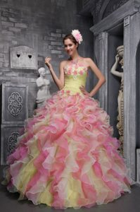 Lovely Strapless Flowers Multi-color Quince Dresses in and Organza