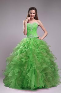 Spring Green Ball Gown Sweetheart Organza Appliques Quinceanera Dress