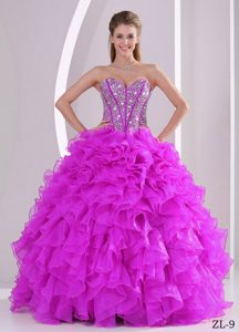 Discount Sweetheart Beaded and Ruffled Lace-up Organza Sweet 16 Dresses