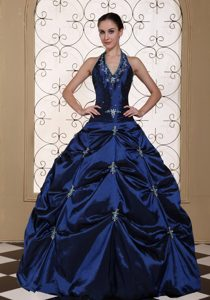 Magnificent Halter Top Beaded and Embroidered Quinces Dress in Navy Blue