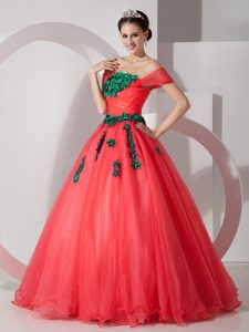 Romantic Coral Red Princess Off The Shoulder Spring Dresses for Quinceanera