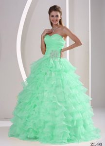 Appliqued and Ruched Zipper-up Apple Green Dresses for Quince with Ruffles