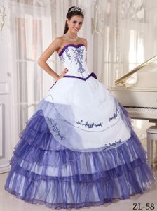 Gorgeous White and Purple Beaded Dresses for Quinceanera with Embroidery