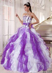 Popular Strapless Organza Long Sweet Sixteen Quinceanera Dresses under 250