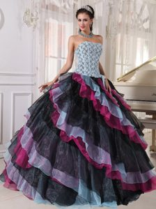 Wonderful Appliqued and Beaded Organza Long Sweet 15 Dress in Multi-color