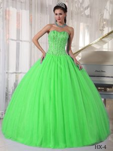 Elegant Spring Green Lace-up Tulle and Satin Quinceanera Gown with Beading
