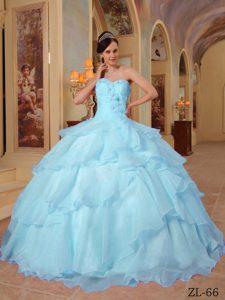 Luxurious Sweetheart Long Beaded Organza Quince Dress in Light Blue