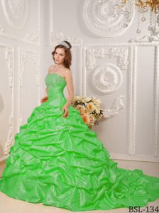 Modern Lace-up Appliqued Spring Green Quinceanera Dress with Court Train