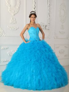 Romantic Blue Satin and Organza Beaded Lace-up Summer Dresses for Quince