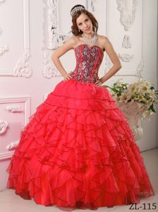 Unique Sweetheart Long Organza Dress for Quinceaneras with Beading