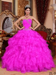 Gorgeous Hot Pink Sweetheart Long Organza Beaded Dress for Quince